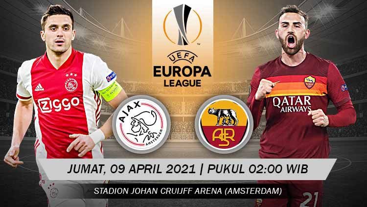 Pertandingan Ajax vs AS Roma (Liga Europa). Copyright: © Grafis:Yanto/Indosport.com