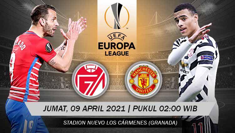 Berikut link live streaming pertandingan leg pertama babak perempatfinal Liga Europa 2020/2021 antara Granada vs Manchester United, Jumat (09/04/21) Copyright: © Grafis:Yanto/Indosport.com
