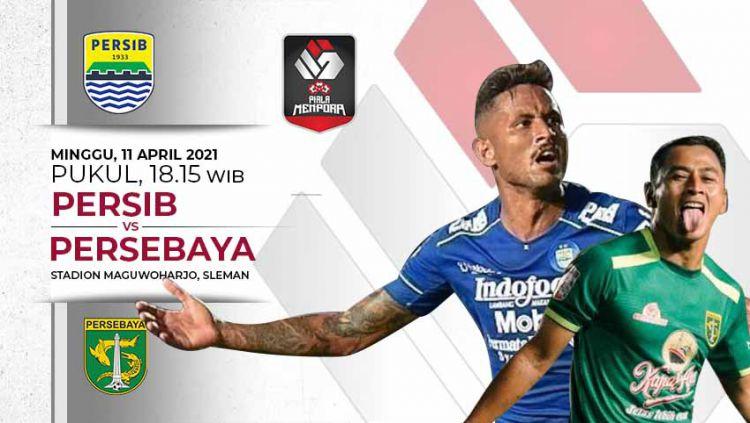 Pertandingan klasik akan terjadi di babak 8 besar turnamen pramusim Piala Menpora 2021, antara Persib vs Persebaya di Stadion Maguwoharjo, Minggu (11/04/21). Copyright: © Grafis:Frmn/Indosport.com