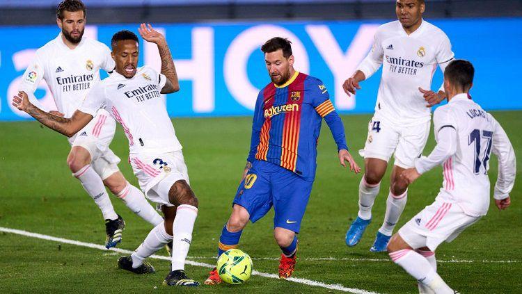 Pertandingan El Clasico antara Real Madrid vs Barcelona pada lanjutan pekan ke-30 LaLiga Spanyol 2020-2021. Copyright: © Diego Souto/Quality Sport Images/Getty Images