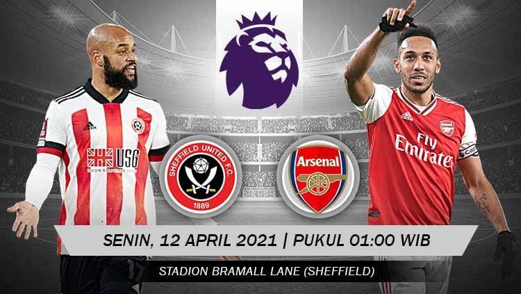 Berikut prediksi untuk pertandingan pekan ke-31 Liga Inggris antara Sheffield United vs Arsenal, Senin (12/04/21) pukul 01.00 WIB. Copyright: © Grafis:Yanto/Indosport.com