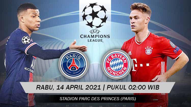 Paris Saint-Germain (PSG) mendapat giliran menjamu Bayern Munchen di leg kedua babak perempatfinal Liga Champions 2020-2021 yang dihelat pada Rabu (14/04/21). Copyright: © Grafis:Yanto/Indosport.com