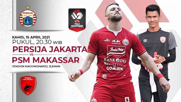 Berikut link live streaming pertandingan leg pertama babak semifinal Piala Menpora 2021 antara Persija Jakarta vs PSM Makassar. Copyright: © Grafis:Yanto/Indosport.com