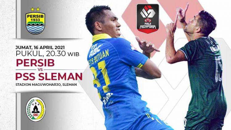 Berikut link live streaming pertandingan leg pertama semifinal turnamen pramusim Piala Menpora 2021 antara Persib Bandung vs PSS Sleman. Copyright: © Grafis:Yanto/Indosport.com
