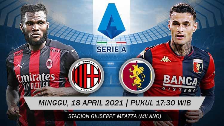 Berikut prediksi pertandingan pekan ke-31 Serie A Italia 2020-2021 yang menampilkan pertandingan menarik antara AC Milan vs Genoa di stadion San Siro, Minggu (18/04/21) pukul 17.30 WIB. Copyright: © Grafis:Yanto/Indosport.com