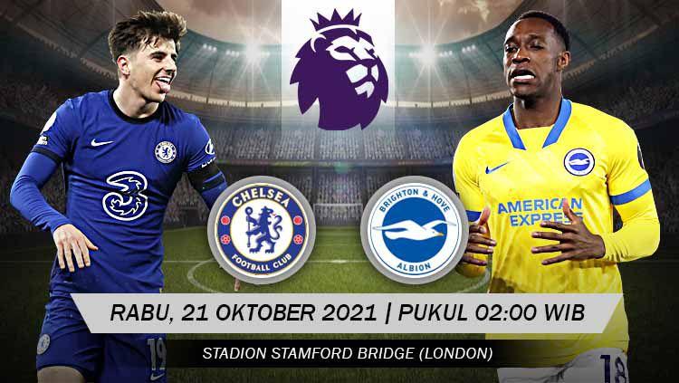 Berikut link live streaming pertandingan Liga Inggris pekan ke-32 antara Chelsea vs Brighton & Hove Albion. Copyright: © Grafis: Yuhariyanto/INDOSPORT