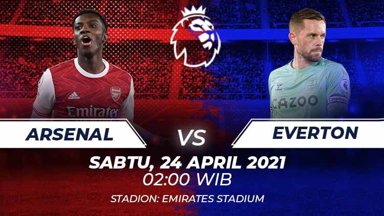 Berikut link live streaming pertandingan pekan ke-33 Liga Inggris 2020-2021 antara Arsenal vs Everton, Sabtu (24/04/21) 02:00 dini hari WIB. Copyright: © Grafis:Frmn/Indosport.com