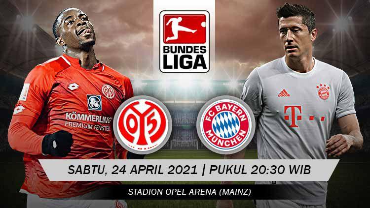 Berikut prediksi pertandingan Mainz 05 vs Bayern Munchen di ajang Bundesliga Jerman pekan ke-31, Sabtu (24/04/21) pukul 20.30 WIB di Opel Arena. Copyright: © Grafis: Yuhariyanto/INDOSPORT