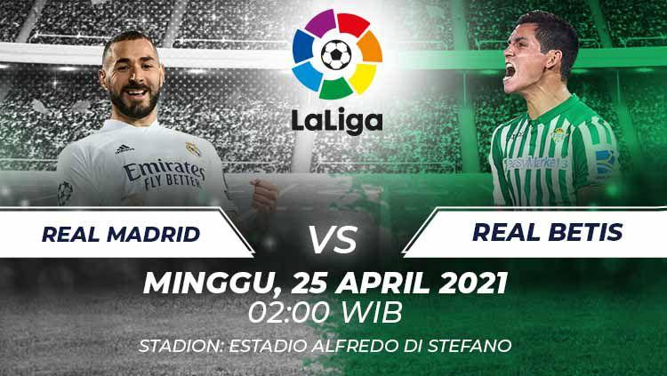 Berikut link live streaming LaLiga Spanyol antara Real Madrid vs Real Betis. Copyright: © Grafis:Frmn/Indosport.com