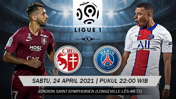Berikut prediksi pertandingan pekan ke-34 Ligue 1 Prancis 2020-2021 yang menampilkan pertandingan menarik antara Metz vs Paris Saint-Germain (PSG). Copyright: © Grafis: Yuhariyanto/INDOSPORT