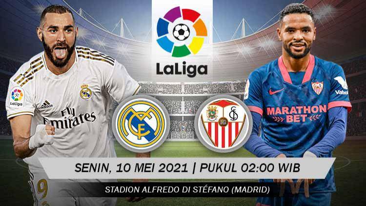 Berikut link live streaming pertandingan lanjutan LaLiga Spanyol 2020/21 pekan ke-35 antara Real Madrid vs Sevilla. Copyright: © Grafis:Yanto/Indosport.com