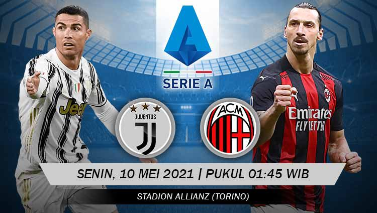 Berikut prediksi pertandingan Serie A Italia giornata ke-35 antara Juventus vs AC Milan, Senin (10/05/21) pukul 01.45 WIB di J Stadium. Copyright: © Grafis:Yanto/Indosport.com