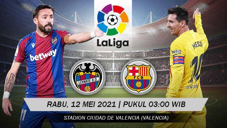 Berikut link live streaming pertandingan LaLiga Spanyol 2020-2021 antara Levante vs Barcelona. Copyright: © Grafis:Yanto/Indosport.com