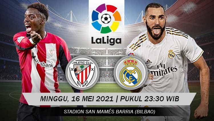 Berikut prediksi pertandingan Athletic Bilbao vs Real Madrid di ajang LaLiga Spanyol pekan ke-37, Minggu (16/05/21) pukul 23.30 WIB di San Mames. Copyright: © Grafis:Yanto/Indosport.com