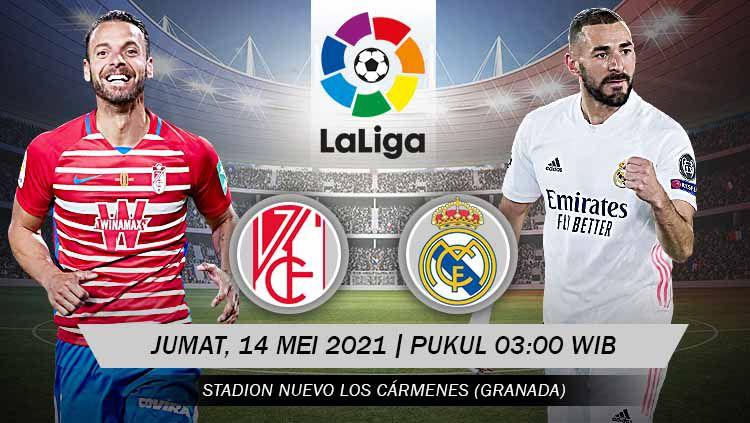 Duel Granda vs Real Madrid akan tersaji, Jumat (14/05/21) pukul 03:00 dini hari WIB. Pertandingan ini dapat disaksikan secara live streaming. Copyright: © Grafis:Yanto/Indosport.com