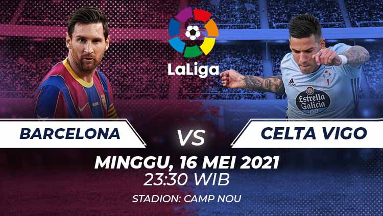 Berikut prediksi pertandingan pekan ke-37 LaLiga Spanyol 2020-2021 yang menampilkan pertandingan menarik antara Barcelona vs Celta Vigo di stadion Camp Nou. Copyright: © Grafis:Frmn/Indosport.com
