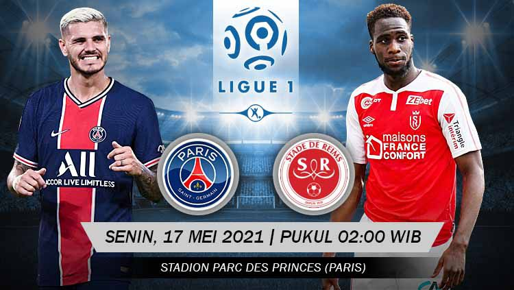 Berikut prediksi pertandingan pekan ke-37 Ligue 1 2020-2021 yang menampilkan pertandingan menarik antara Paris Saint-Germain (PSG) vs Reims di stadion Parc des. Copyright: © Grafis:Yanto/Indosport.com