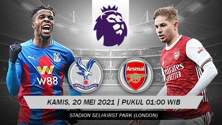 Berikut link live streaming pertandingan lanjutan Liga Inggris 2020/21 pekan ke-37 antara Crystal Palace vs Arsenal. Copyright: © Grafis:Yanto/Indosport.com