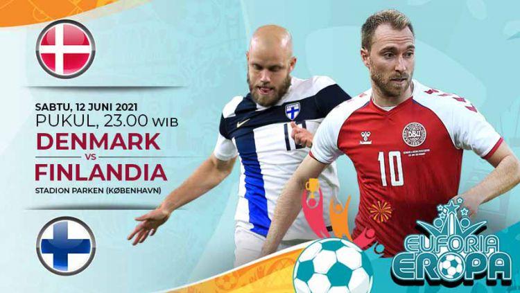 Pertandingan antara Denmark vs Finlandia (Euforia Eropa 2020). Copyright: © Grafis:Yanto/Indosport.com