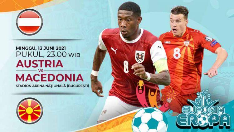 Pertandingan antara Austria vs Makedonia Utara (Euforia Eropa 2020). Copyright: © Grafis:Yanto/Indosport.com