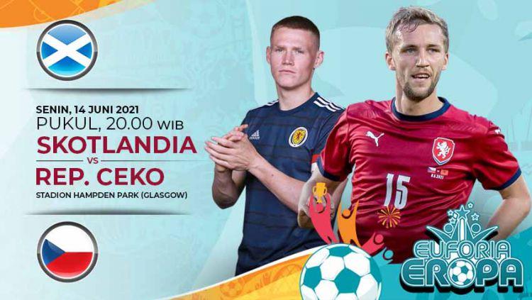 Berikut prediksi pertandingan kedua Grup D antara Skotlandia vs Republik Ceko di ajang Euro 2020, Senin (14/06/21) pukul 20.00 WIB di Hampden Park. Copyright: © Grafis:Yanto/Indosport.com