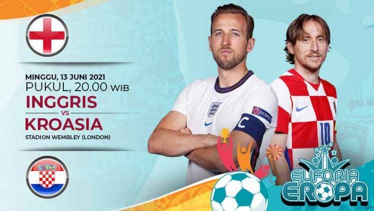 Pertandingan antara Inggris vs Kroasia (Euforia Eropa 2020). Copyright: © Grafis:Yanto/Indosport.com