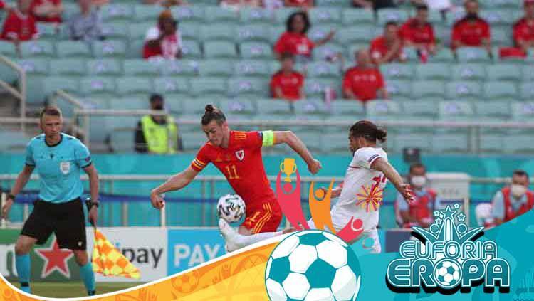 Aksi Gareth Bale di laga Wales vs Swiss dalam laga Grup A Euro 2020. Copyright: © Tolga Bozoglu - Pool/Getty Images