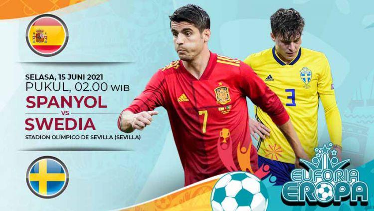 Berikut ini link live streaming pertandingan antara Spanyol vs Swedia di laga pertama Grup E Euro 2020, Selasa (15/06/21). Copyright: © Grafis:Yanto/Indosport.com