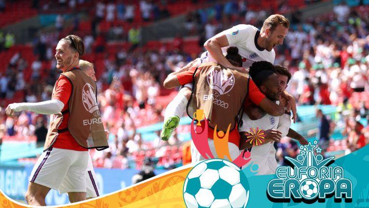Euro 2020_ Selebrasi Raheem Sterling di laga Inggris vs Kroasia Copyright: © Carl Recine - Pool/Getty Images