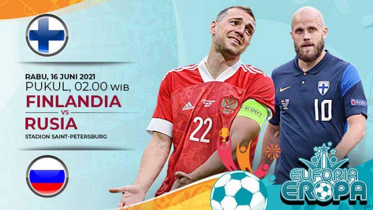 Berikut prediksi pertandingan Euro 2020 grup B antara Finlandia vs Rusia yang akan diselenggarakan pada Rabu (16/06/21) pukul 20.00 WIB di Stadiion Krestovsky. Copyright: © Grafis:Yanto/Indosport.com