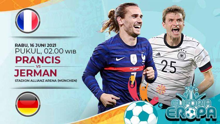 Pertandingan antara Prancis vs Jerman di Euro 2020 bisa disaksikan melalui live streaming. Copyright: © Grafis:Yanto/Indosport.com