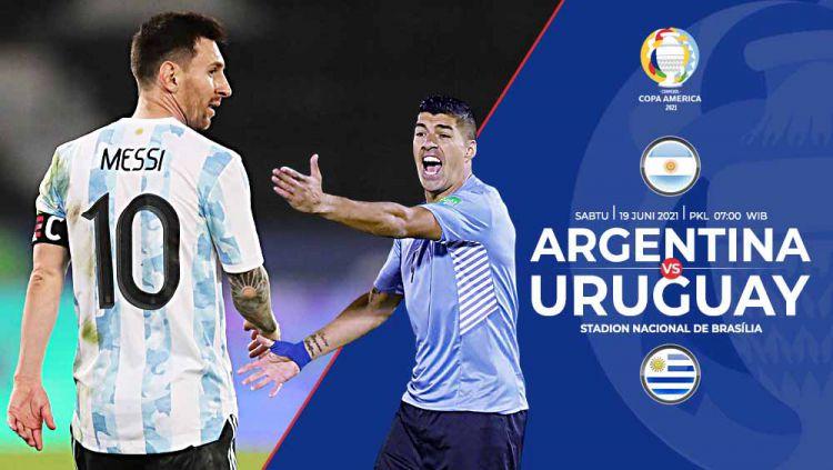 Pertandingan antara Argentina vs Uruguay (Copa Amerika). Copyright: © Grafis:Yanto/Indosport.com