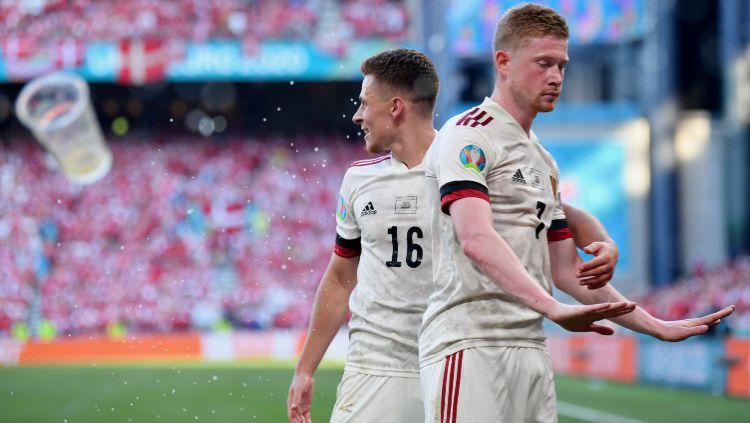 Kevin De Bruyne merayakan gol Belgia atas Denmark dalam lanjutan laga Euro 2020 Copyright: © Stuart Franklin/Getty Images