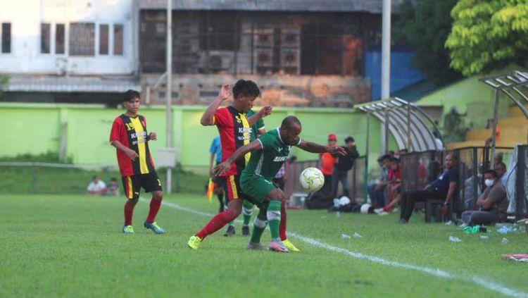 PSMS Medan saat melakoni laga uji coba di Stadion Mini Kebun Bunga, Medan, Kamis (17/6/21) petang. Copyright: © Media Officer PSMS