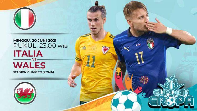 Pertandingan antara Italia vs Wales (Euforia Aropa 2020). Copyright: © Grafis:Yanto/Indosport.com