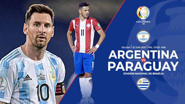 Berikut prediksi pertandingan laga seru di Grup B Copa America 2021 antara tim favorit juara, Argentina, melawan tim kuda hitam, Paraguay. Copyright: © Grafis:Yanto/Indosport.com