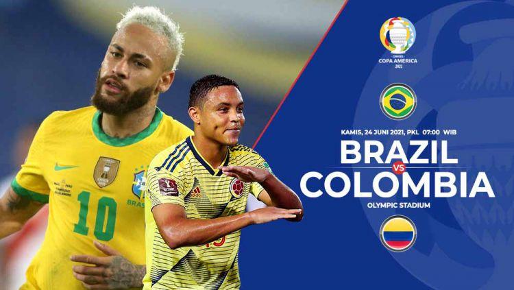 Brasil akan bertemu Kolombia di Grup B Copa America 2021, Kamis (24/06/21) pukul 07.00. Berikut prediksi untuk pertandingan tersebut. Copyright: © Grafis:Frmn/Indosport.com