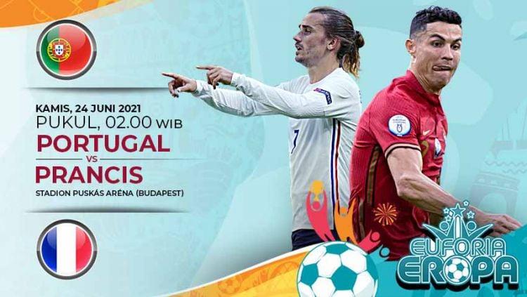 Berikut prediksi duel Portugal kontra Prancis pada laga pamungkas Grup F Euro 2020, Kamis (24/06/21) pukul 02:00 WIB di Ferenc Puskas Stadium. Copyright: © Grafis:Yanto/Indosport.com