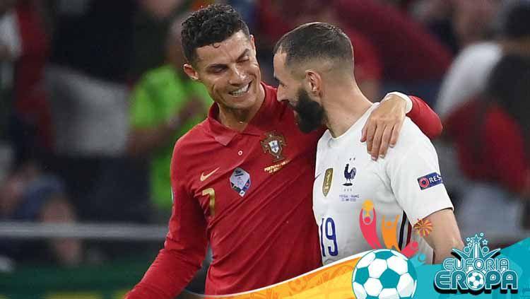 Cristiano Ronaldo dan Karim Benzema saat laga Portugal vs Prancis Euro 2020. Copyright: © FRANCK FIFE/POOL/AFP via Getty Images