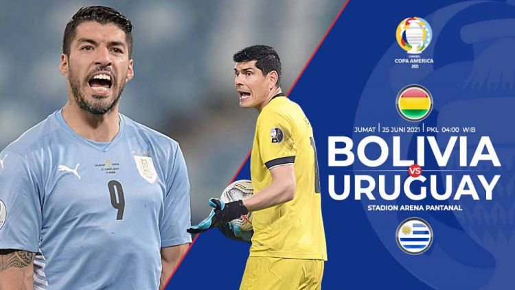 Laga menarik akan tersaji di Grup A Copa America 2021 yang mempertemukan tim peringkat dua terbawah, Bolivia vs Uruguay. Copyright: © Grafis:Yanto/Indosport.com