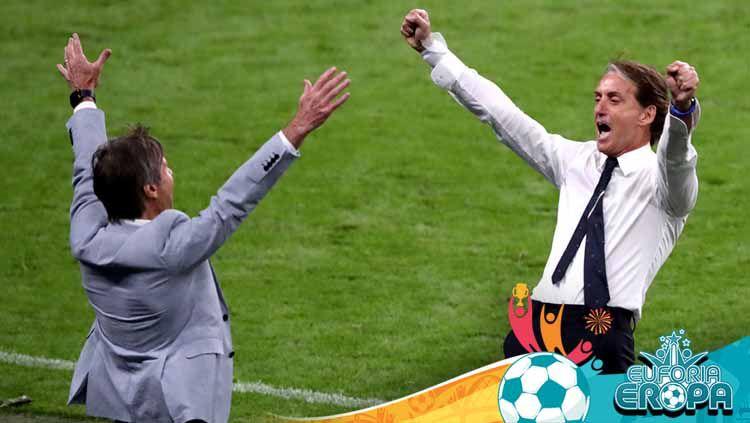 Pelatih Italia Roberto Mancini melakukan selebrasi di UEFA Euro 2020. Copyright: © Nick Potts/PA Images via Getty Images