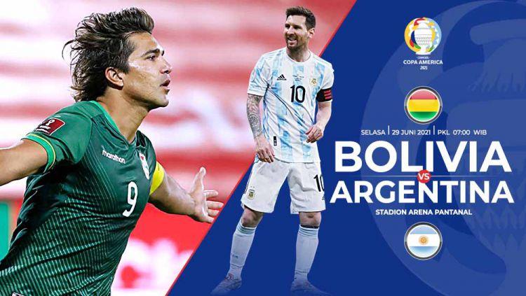 Berikut prediksi pertandingan pamungkas Grup A Copa America 2021 antara Bolivia vs Argentina, Selasa (29/06/21) pukul 07.00 WIB di Arena Pantanal. Copyright: © Grafis:Yanto/Indosport.com