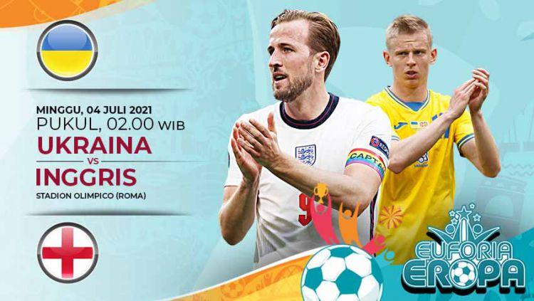 Berikut prediksi pertandingan babak perempatfinal Euro 2020 antara Ukraina melawan Inggris, yang dimainkan Minggu (04/07/21) dini hari WIB. Copyright: © Grafis:Yanto/Indosport.com