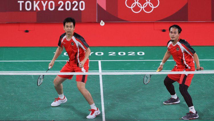 Hendra Setiawan/Mohammad Ahsan di Olimpiade Tokyo 2020. Copyright: © NOC Indonesia