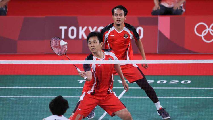 Pebulutangkis ganda putra Indonesia Hendra Setiawan/Mohammad Ahsan di Olimpiade Tokyo 2020. Copyright: © NOC Indonesia