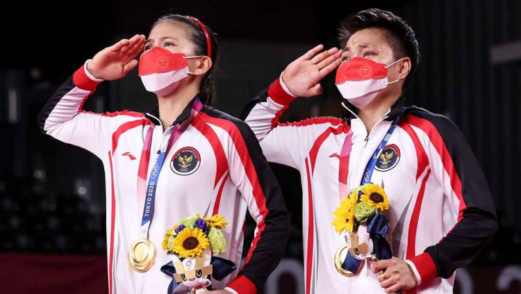Greysia Polii/Apriyani Rahayu, peraih mendali emas di Olimpiade Tokyo 2020. Copyright: © Lintao Zhang/Getty Images