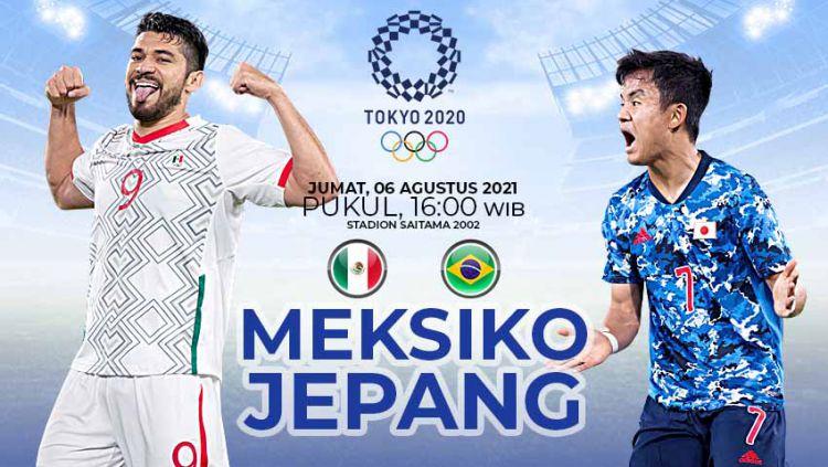 Berikut prediksi pertandingan perebutan medali perunggu Olimpiade 2020 antara Meksiko vs Jepang, Jumat (06/08/21) pukul 18.00 WIB di Saitama Stadium 2002. Copyright: © Grafis:Yanto/Indosport.com