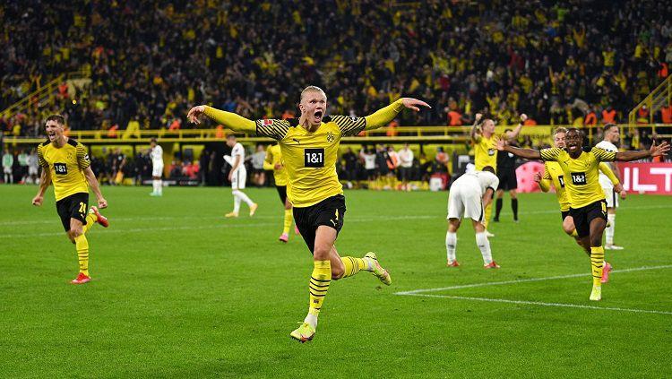 Borussia Dortmund melanjutkan tren positif di laga kelima Bundesliga Liga Jerman saat menjamu Union Berlin. Copyright: © @ErlingHaaland