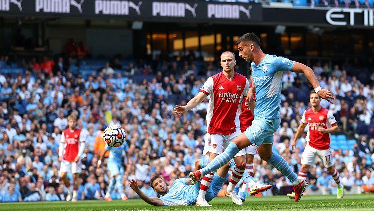 Manchester City berhasil meraih kemenangan 5-0 atas Arsenal di pekan ke-3 Liga Inggris, Sabtu (28/08/21). Copyright: © Manchester City