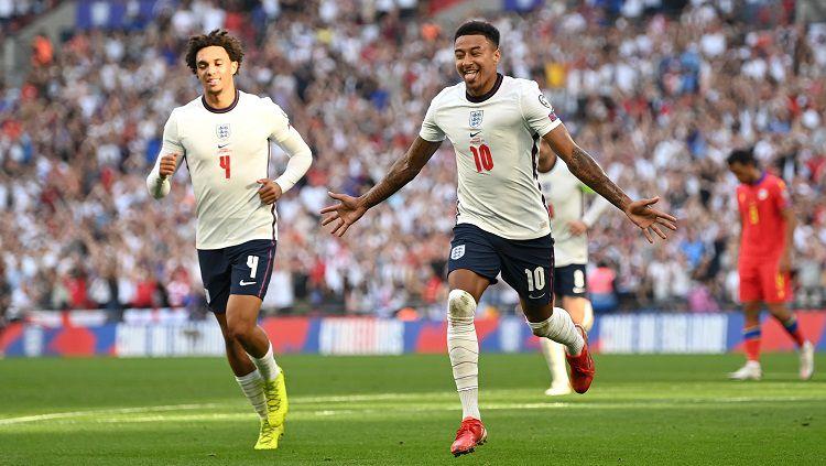 Jesse Lingard merayakan golnya di Kualifikasi Piala Dunia Inggris vs Andorra Copyright: © Twitter @England